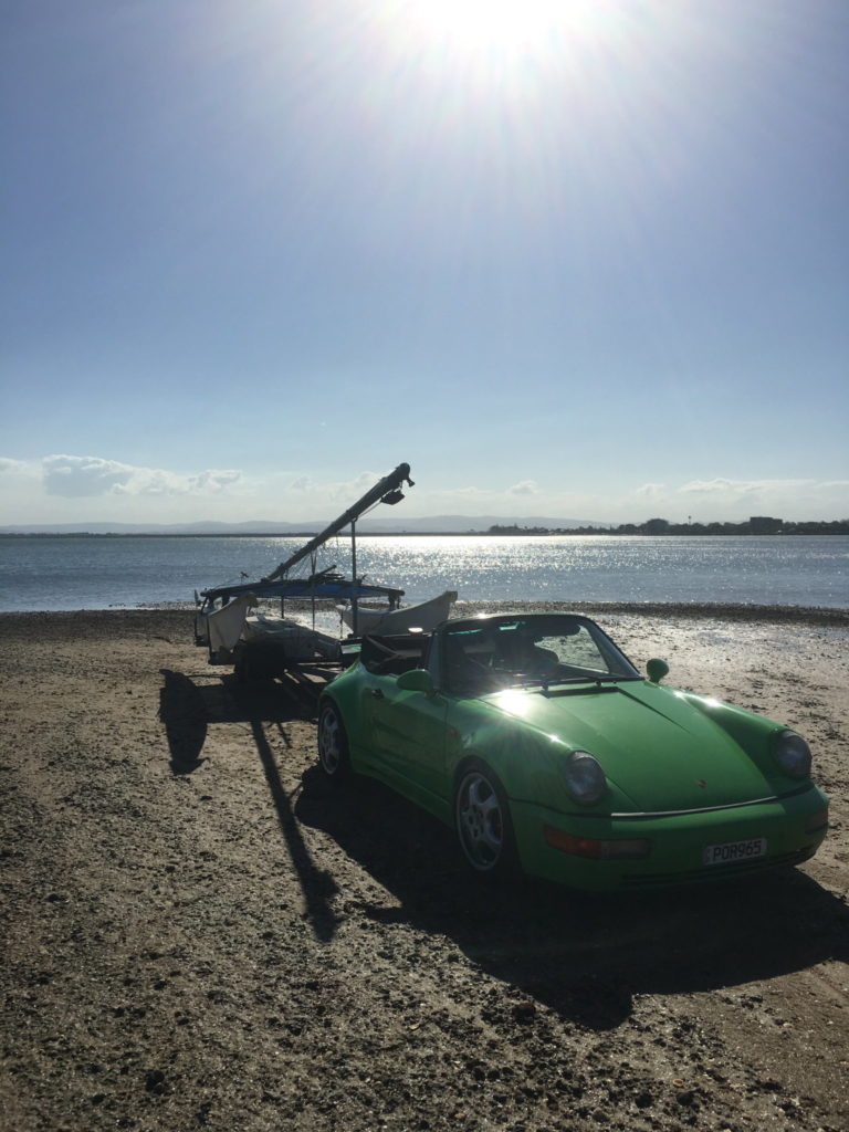 Porsche towing hobie 16